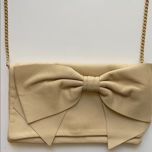 RED VALENTINO Bow Crossbody Clutch Bag Gold Chain